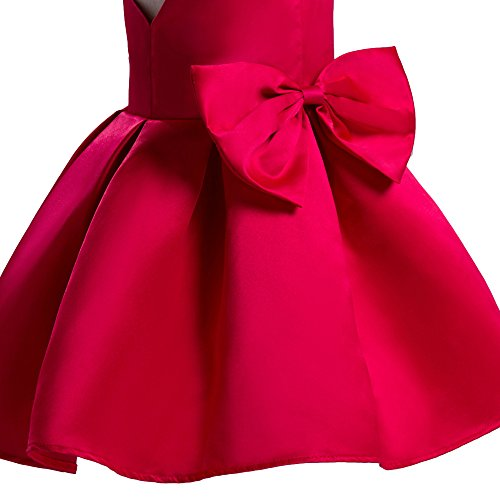 856aa8ce9 Tueenhuge Baby Toddler Girls Party Dress Sleeveless Bowknot Wedding  Bridesmaid Formal Princess Dress, 110/3-4T, Red
