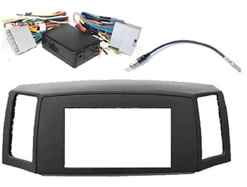 Double Din Navigation Radio Bezel Dash Install Kit with Premium Wiring Harness RETAINS Steering Wheel Controls and Antenna Adapter - GREY Fitted For Jeep Grand Cherokee (Radio Control Bezel)