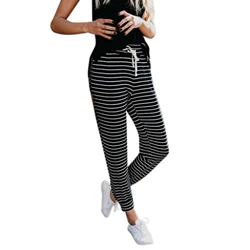 - Creazrise Womens Stripe Casual Leggings Running Sweatpants Ladies Sexy Clubwear Maternity Trousers Black