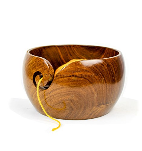 Dark Rich Deep Wood Crafted Premium Polished Yarn Storage Bowl With Spiral Yarn Dispenser | Nagina International