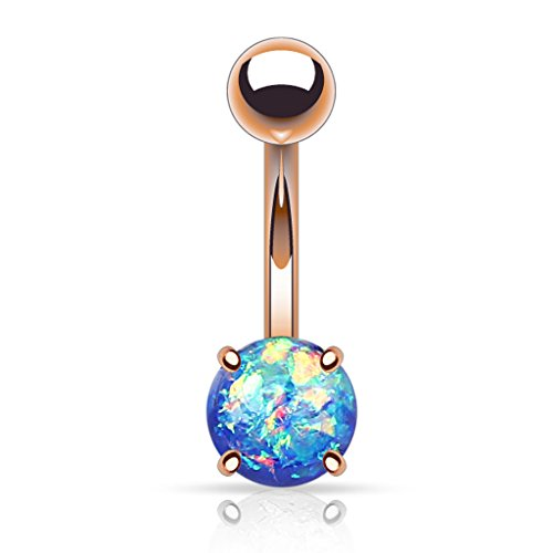 (Fifth Cue 14G Opal Glitter Prong Set Rose Gold IP Over 316L Surgical Steel Belly Button Ring (Synthetic Opal) - Blue)