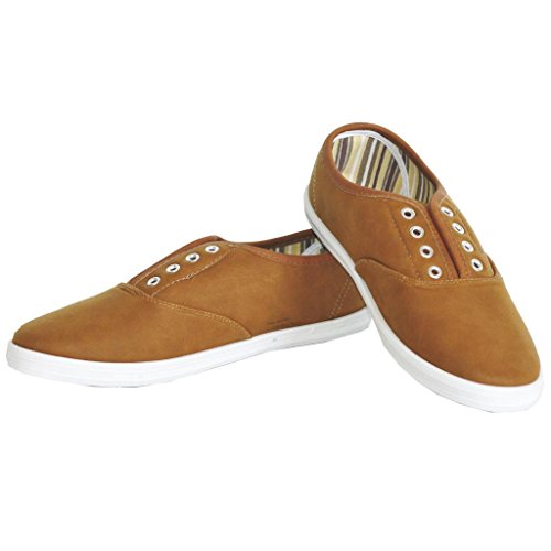 Twisted Women's Tennis Basic Faux Leather Athletic Slip-On Sneaker - COGNAC PU, Size 6