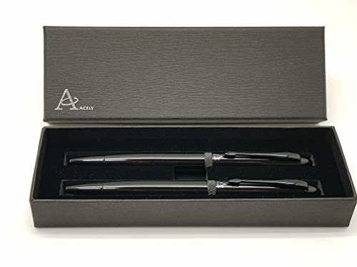 - ACELY Classic Ball Point Pen Gift Set, Glossy Black Barrel, German Ink Refill