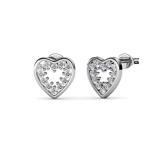 Cate & Chloe Ainsley Amazed White Gold Heart Earrings, 18k Gold Plated Studs with Swarovski Crystals, Heart Stud Earring Set with Round Cut Solitaire Swarovski Crystals, Wedding Jewelry
