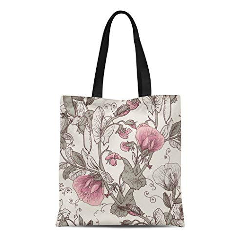 Semtomn Cotton Canvas Tote Bag Pink Sweet Floral Blooming Peas the in Vintage Flower Reusable Shoulder Grocery Shopping Bags Handbag Printed