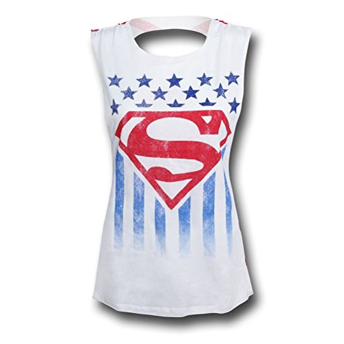Superman+tank+tops Products : Superman Stars and Stripes Cutout Back Juniors Tank Top