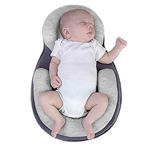 SiQing Newborn Baby Sleep Positioning Pad Prevent Flat Head Shape Anti Roll Infant Lounger Portable Bassinet, Nest for Cosleeping, Tummy Time Lounging Super Soft Breathable No Assembly Require (Gray)