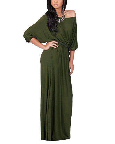 Vestido Para Mujer Largo Sin Hombro De Fiesta Cóctel Tallas Grandes Elegante Verde Del Ejército
