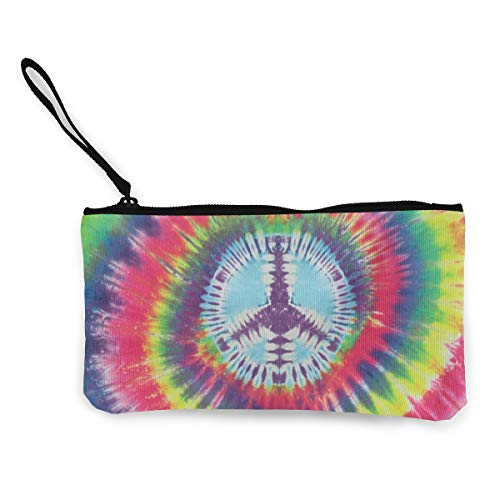 XUJ YOGA Tie Dye Peace Sign Canvas Cash Coin Purse Make Up Bag Small Cosmetic Carry Pouch Cellphone Bag with Handle for Women Girls