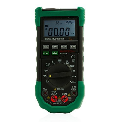 MASTECH MS8229 Auto Range Multimeter & Temperature Humidity Light Lux Sound Level Meter Tester 5 in 1 with Back Light by Mastech