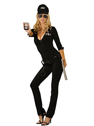 Badge Costume Fbi (Sexy Women's FBI Agent Jumpsuit Uniform Adult Roleplay Costume, Medium,)