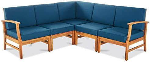 GDF Studio Capri Outdoor 5 Piece Chat Set with Blue Water Resistant Cushions No Coffee Table