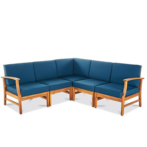 GDF Studio Capri Outdoor 5 Piece Chat Set with Blue Water Resistant Cushions (No Coffee Table) (Corner Bench Patio)