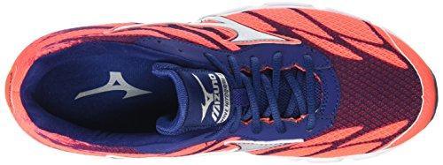 Mizuno Wave Hitogami 3 - Zapatillas deportivas para mujer Rosa (Fiery Coral/Glacier Gray/Blue Depths)