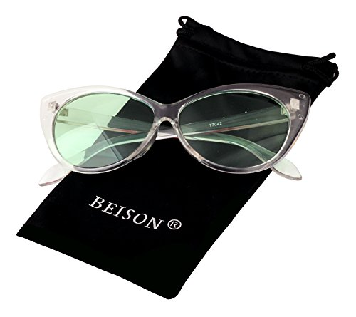 Beison Womens Cateye Glasses Sunglasses Tinted Lens UV400 Protection (Transparent, - Tinted Prescription Glasses Green