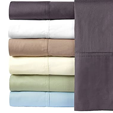 Silky Soft Bamboo Cotton Pillow-Cases, 100% Bamboo-Cotton Pillowcases, Standard Size, Charcoal
