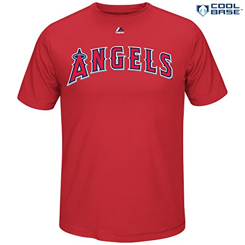 Mike Trout Los Angeles Angels of Anaheim #27 MLB Men's Synthetic Cool Base Player T-Shirt (Large)