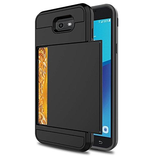 Galaxy J7 2017 Case,Berry Impact Resistant Hybrid J7 Sky Pro Wallet Case Shell Shockproof Rugged Rubber Bumper Anti-Scratch Card Slot Holder Cover for Samsung Galaxy J7 V / J7 Prime/Halo Black