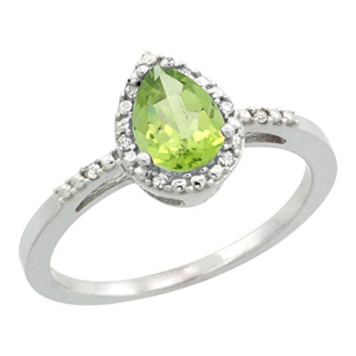 Sterling Silver Diamond Natural Peridot Ring Pear 7x5mm, 3/8 inch wide, size 7.5