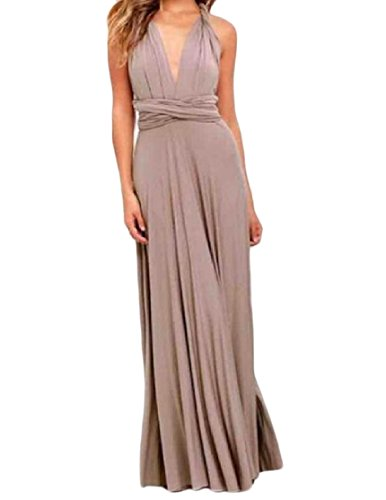 Women Fitting Low Coolred Long Back Dress Sexy Waist Gown Khaki Slim y0ddSA4qw1
