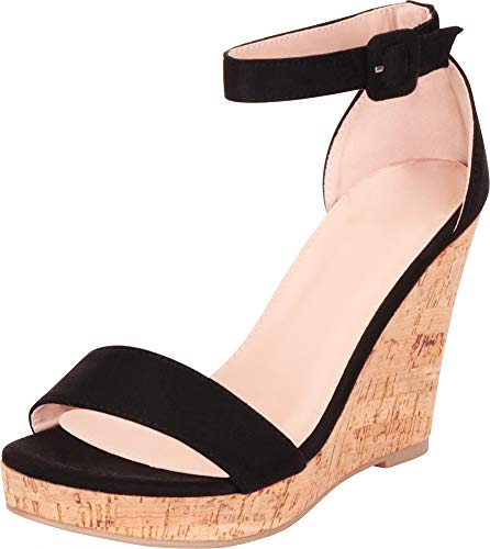 Cambridge Select Women's Open Toe Single Band Ankle Strap Chunky Platform Wedge Sandal,9 B(M) US,Black IMSU