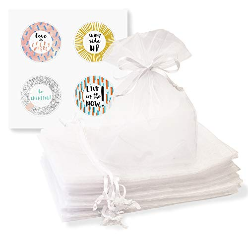 Organza Bags 100 Pcs 5'' x 7'' White Sheer Drawstring Gift Bags Perfect for Weddings, Party Favors, Candy Or Jewelry Pouches Plus 4 Happy Stickers by Creative Organza