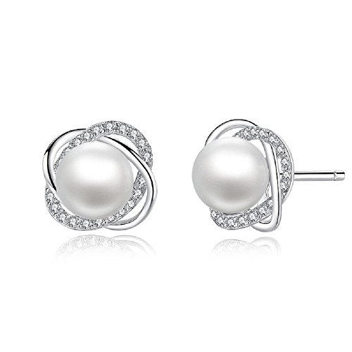 Spiral Earrings Pearl Spiral - Sterling Silver Freshwater Cultured Pearl and Cubic Zirconia Spiral Stud Earrings