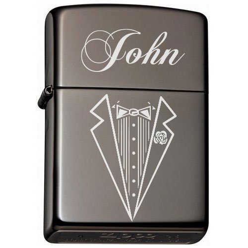 Groomsman, Best man Gift Personalized Tuxedo Zippo LIGHTER - Free Laser Engraving (Ice Black)