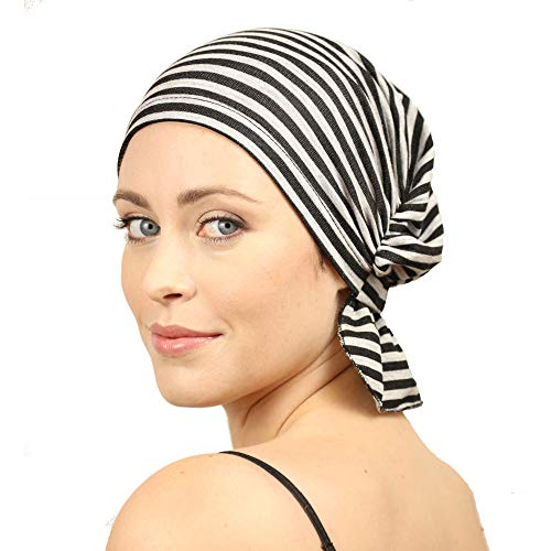 - Chemo Beanies  Jillian (Black/Grey Stripe)