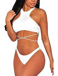 Women's Push Up High Neck Lace-up Crop Top Bikini Set Bathing Suit