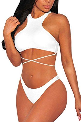 (Viottiset Women's High Neck Strappy Tie Back Two Pieces Swimsuit Bikini Set M White)