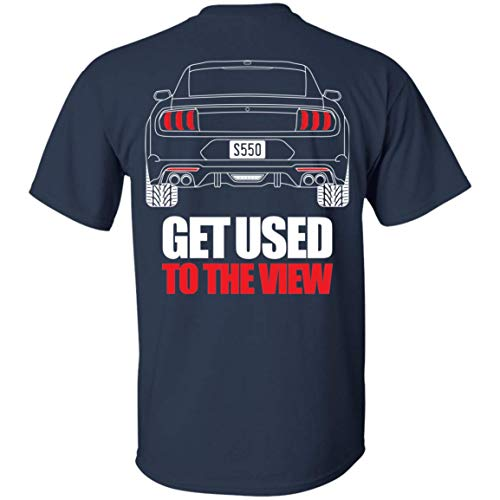 WheelSpinAddict Men's Mustang S550 Debadged 2018 T-Shirt Navy