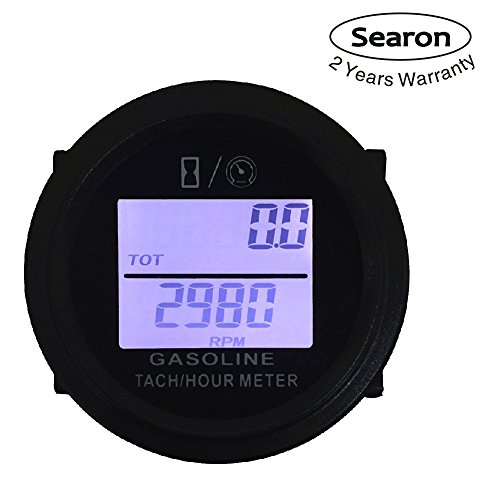 Searon Digital 52MM Tach Hour Meter Tachometer for Gas Engine 2/4 Stroke Motorcycle ATV Boat Snowmobile Marine Lawn Mower by Searon