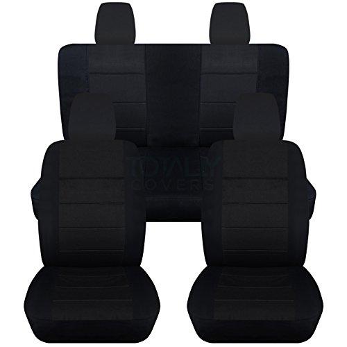 2011-2017 Jeep Wrangler JK Seat Covers: Black – Full Set: Front & Rear (23 Colors) 2012 2013 2014 2015 2016 2-Door/4-Door Complete Back Solid/Split Bench