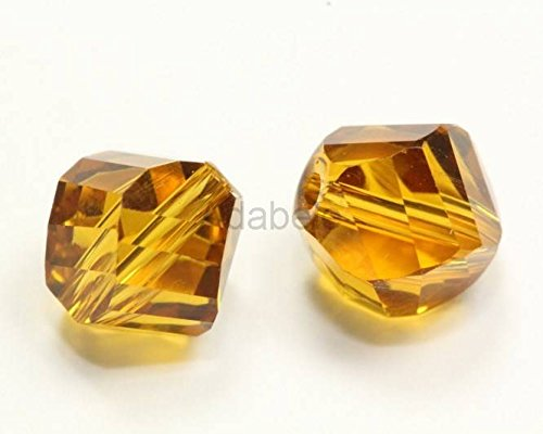 50 6mm Adabele Austrian Helix Crystal Beads Amber Compatible with Swarovski Preciosa Crystalized Beads (Amber Oval Beads)