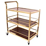 Kitchen Trolley, 3 Tier Stainless Steel Serving Catering Trolley Clearing Cart for Hotel Restaurant and Home, 75 * 45 * 96 cm