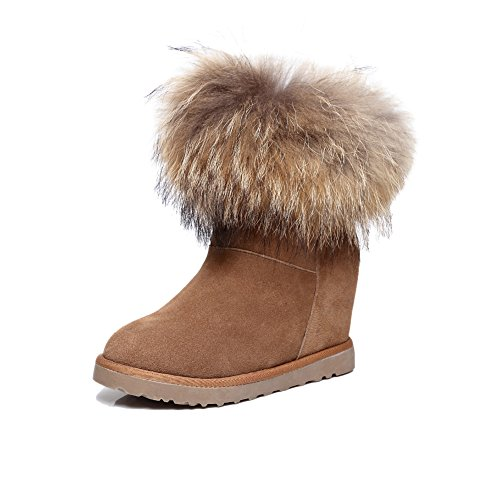 Shenn Women's Winter Hidden Wedge Heel Knee High Fur Lined Suede Snow Boots Brown