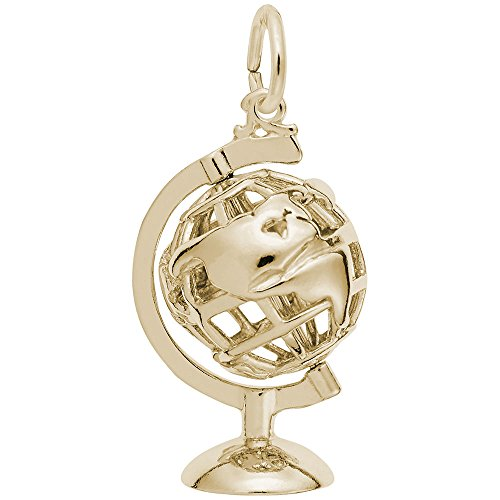 Gold Plated Globe 3D W Stand Charm, Charms for Bracelets and Necklaces - Gold Plated Globe