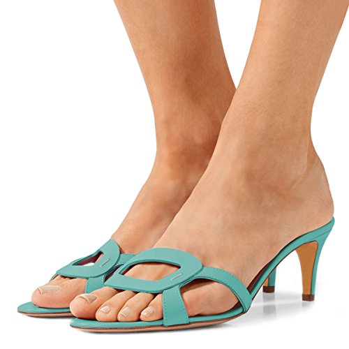 US Shoes Open Slip Low Heels Size Cutout Mules FSJ Toe Kitten 4 Casual Summer Turquoise Women Sandals 15 On nOqvpvRWT