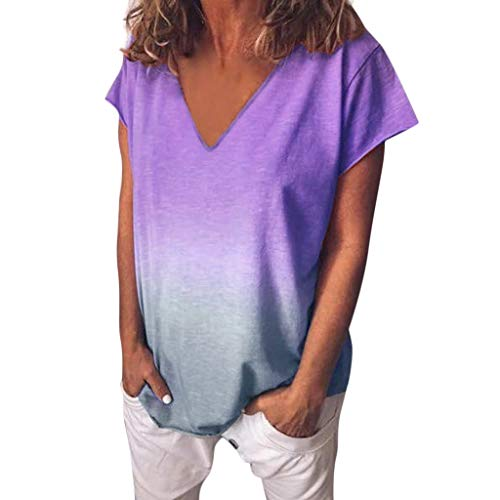 HIRIRI Womens Tunic Tops Gradient V Neck T Shirt Loose Short Sleeves Tie Dye Blouse Shirts Tees Purple