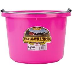 Miller Manufacturing P8HOTPINK Plastic Round Back Bucket for Horses, 8-Quart, Hot Pink