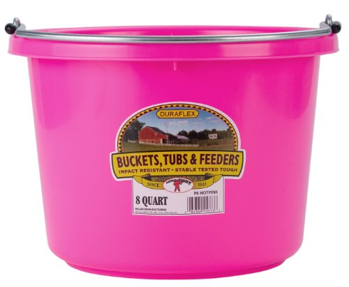 Image of Miller Manufacturing P8HOTPINK Plastic Round Back Bucket for Horses, 8-Quart, Hot Pink