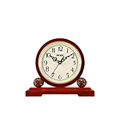 HENSE Antique Arabic Numerals Analog Soild Wood Mantel Clock Concise Non Ticking Mute Quartz Desk Clock HD02