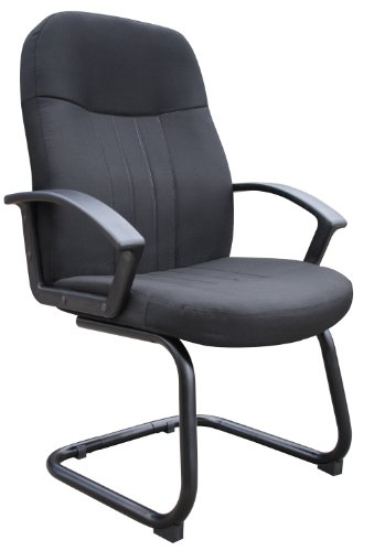 Boss Office Products B8309-BK Mid Back Fabric Guest Chair in Black by Boss Office Products