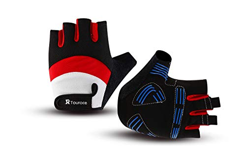 Tourace Cycling Gloves Shock-Absorbing Gel Pad Anti-Slip Breathable Lycra Mesh Road Bicycle Bike Riding Men Women Half Finger Gloves