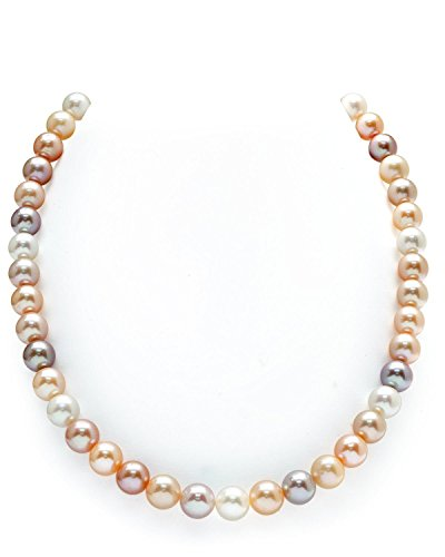 (THE PEARL SOURCE 14K Gold 8-9mm AAA Quality Multicolor Freshwater Cultured Pearl Necklace for Women in 20