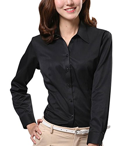 Dioufond Women V-Neck Long Sleeve Button Down Shirt Formal Work Wear Blouse Tops
