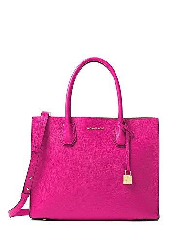 MICHAEL Michael Kors Womens Mercer Leather Shopper Tote Handbag Pink Medium