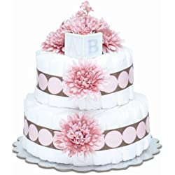 Bloomers Baby Diaper Cake Modern Pink Mums 2-Tier
