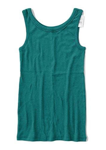 Ann Taylor LOFT - Women's - Solid Colors - Interlock Cotton Pom Pom Tank Top (Small, Jade Green)